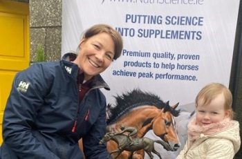 Louise and Aria Codd with the William Codd Perpetual Trophy for the winner of the TB class at the Stepping Stones League, sponsored by NutriScience.